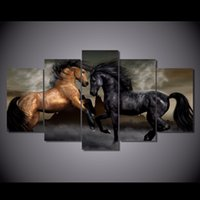 Barato Arte Abstrata Marrom-5 Pcs / Set Framed HD Impresso Black Brown Love Horses Picture Wall Art Impressão de Canvas Home Decor Poster Abstract Canvas Oil Painting