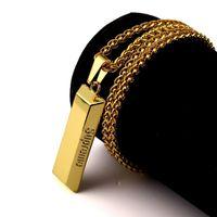 Wholesale Mens Black Diamond Chain Necklace - 18k Gold Plated Fashion Personalized Design Hip Hop Jewelry Long 80CM Chains Punk Rock Micro Pendant Necklace Mens Geometric Necklaces Y#137