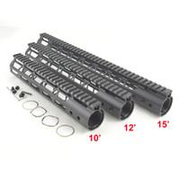 Wholesale Railings Steel - 10, 12, 15 inch M-Lok Rail Free float hand guards fit AR15 Ultralight design Steel barrel nut