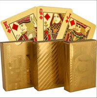 Wholesale Poker Designs - Golden Playing Cards Deck gold foil poker Magic card Plastic Poker Durable Waterproof Card 3 designs US dollar   Euro Style   General style