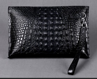Wholesale Envelope Bag Leather Men - Men clutch bags genuine crocodile leather soft sturdy Men small business Clutch bags 29cm wide super large volume