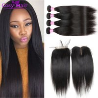 Wholesale human hair straight weave price resale online - brazilian virgin hair straight human hair weave wefts bundles with x4 lace closure natural black cheap price
