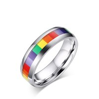 Wholesale Wedding Bands Trends - New Arrival 6mm Rainbow Homosexual Rings Trend Fashion Lesbian Rings Titanium Stainless Steel LGBT Rings Dainty Gift