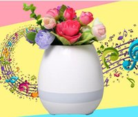 Wholesale 2017 Newest Playing Bluetooth speaker smart music Plastic flower pot with touch sensors colorful light