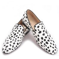 Wholesale Horse Careers - 2017 new handmade men fashion party and wedding loafers Zebra pattern horse hair men dress shoes Plus size male flats