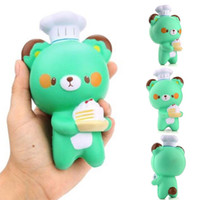 Novo Kawaii Cute Green Chef Bear Soft Cartoon Doll Squeeze Squishy Slow Rising Decompression Press Release Relief Gift Kids Toy