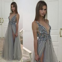 Wholesale Crystal Evening New - 2017 New Sexy Paolo Sebastian Evening Dresses Deep V Neck Sequins Tulle High Split Long Gray Evening Gowns Sheer Backless Prom Party Gowns
