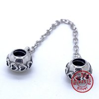 Wholesale Animal Connections - LOVE CONNECTION SAFETY CHAIN 100% 925 Sterling Silver Beads Fit Pandora Charms Bracelet Authentic DIY Fashion Jewelry