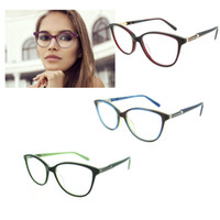 spectacles lenses - 2017 Round Spectacle Frame for Female Grade Computer Glasses Fashion Reading Cat Eye Glasses Women Optical Prescription Eyewear