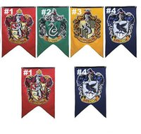 Wholesale 2017 cm Harry Potter Gryffindor Hufflepuff Slytherin Ravenclaw Flag Hogwarts College Flag Home Decor Polyester Banner