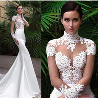 Wholesale Collar Fur Cheap - New Arrival Mermaid Wedding Dresses 2017 High Neck Sheer Long Sleeves Lace Appliques Satin See Through Beach Garden Bridal Gown Cheap