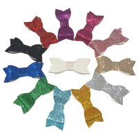 Wholesale Girl Accessories Bulk - free shipping 100pcs lot Glitter Synthetic PU Leather Bow Girl Hair Accessories Bulk Price 12 Color for U Pick H0279