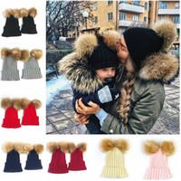 Wholesale Bobble Man - Cute Winter warm Mom Women Baby Kids Crochet Knitted Hat Caps Children Girl Boy Wool Fur Bobble Ball Pompom Beanies Hats
