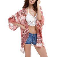 Wholesale Chiffon Tunic Beach Cover Ups - Summer Fashion Boho Kimono Cardigan Women Sexy Printed Blouse Chiffon Shirt Loose Beach Cover up Tunic Tops V-Neck Casual Shirts