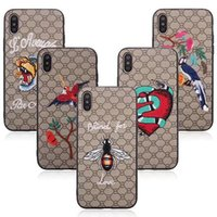 Wholesale Animal 3d Iphone - For iPhone X 3D Embroidery Case Snake Tiger Pattern Animal Slim Cute Painting Stylish Shockproof Protector Cover For iPhone X 8 Plus 7 6 6S