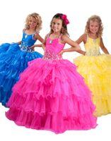 vestido amarelo vestidos juniors venda por atacado-Júnior starps vestidos de baile meninas babados amarelo azul fúcsia frisada vestidos pageant crianças dance party vestidos de princesa