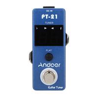 kompakte gitarre großhandel-Professionelle Andoer Guitar Tuner Pedal True Bypass Blau Universal Compact Hochwertige Gitarre Teile Zubehör