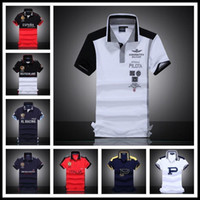 Wholesale Embroidered Brands Logo - 2017 Men's Polo Shirt Embroidered Horse Logo Brand Militare Men Polo Shirts Air Force One Short Sleeve Polos Male Top Tee