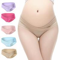 Wholesale Ladies Shaped Underwear - 10 Colors Pregnancy Briefs Maternity Panties Lady Clothes Pregnant Women Underwear U-Shape Low Waist Maternity Underwear CCA7387 120pcs