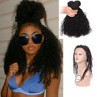 Wholesale Hair Ringlets - 360 lace frontal with bundles Malaysian wavy lace front afro curly crimp weave with closure Brazilian human hair ringlet hair extension