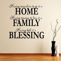 Wholesale Bless Home Wall Quote - Free shipping Home Family Blessing Wall Quote Sticker Decal Removable Art Mural Home Decor Wall Stickers
