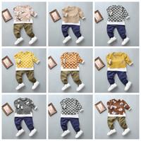 Wholesale korean style shirt baby - Fashion 2017 new baby autumn suit baby boys lonf sleeve T-shirt+pants 2pcs suit Korean style burn-out hole kids clothes