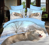 Wholesale Animal Printed Comforters - 3D Wolf Animal Bed Sets Sheet Duvet Cover Pillowcases Not Comforter 4pcs Queen