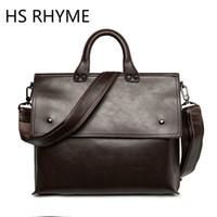 ingrosso cinghie da cartella-Wholesale- HS RHYME borsa vintage da uomo in pelle borsa a tracolla vintage in pelle PU borsa a tracolla singola con tracolla