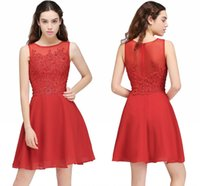 Wholesale Diamond Club Dresses - Stock Red Short A Line Homecoming Party Dresses Cheap Small Diamond Lace Appliques Short Club Dresses Flowy Chiffon Cocktail Dresses 2017