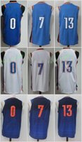 Wholesale Browns Throwback Jerseys - 2017-18 New 0 Russell Westbrook Jersey College Throwback 13 Paul George 7 Carmelo Anthony Jerseys Blue White Orange Black Stitched
