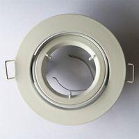 dökme ışık toptan satış-3 Inç Döküm Alüminyum MR16 GU10 Tavan Spotlight Montaj Braketi Beyaz Fırçalı Nikel kaplama ile Gömme Aşağı Işık Fikstürü