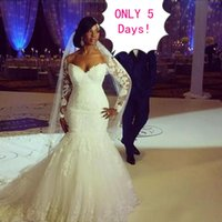 Wholesale Long Sleeved Backless Wedding Dresses - Stunning 2017 Plus Size Mermaid Wedding Dresses Trumpet Sweetheart Illusion Lace Appliques Long Sleeved Bridal Gowns with Train