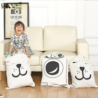 Wholesale Machines Wash Clothes - Storage Bags Room Toy Bag Home Furnishing Canvas Storages Package Bear Face Letter Washing Machine Pattern Sack Kids 6 2yq D R