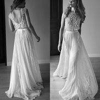 Wholesale Size 16 Work Dresses - Sparkly Bohemian Wedding Dress Sexy Beach Beaded Lace Wedding Dresses Backless Exquisite Beads Work Luxury Bridal Gowns Sweep Train