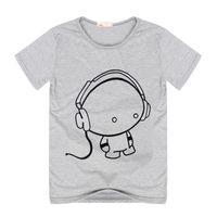 Wholesale Earphones Shirt - Wholesale- Summer Men Boys Casual Shirts Short Sleeve Cotton Tees Print Earphone T-Shirt Tops