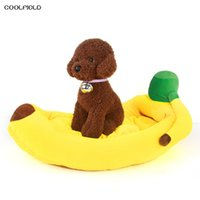 Wholesale Kennel Blanket - 2017 Hot Sale 100% Cotton Banana Shape Pet Cat Bed Sofa Padded dog bett Creative House Kennel with mat for dog letto per cani
