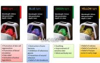 ingrosso giallo ha portato la pelle chiara-Luce portatile PDT LED light therapy 4 colori Rosso blu verde Giallo luce led ringiovanimento della pelle macchina
