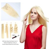 Barato Melhor Blonde Clip Cabelo Extensões-Resika Best Hair Products Peruvian Remy Clip In / On Hair Extensions 7pcs / set 16clips 8A Grade Blonde Hair Hair Extensions Pode ser Permed