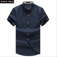 4b92cabc56b Wholesale- Men Shirt Plus Size Business Casual Short Sleeve Shirt Summer  Thin 5XL 6XL 7XL 8XL Brand Male Solid Color Shirt Black White Navy