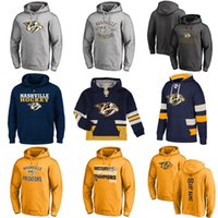 Wholesale Womens Blue Hoodie - Hot Sale Custom Mens Womens Kids Nashville Predators Cheap Top Quality Embroidery Navy Red Grey Ice Hockey Hoodies with Any Name&Any No.