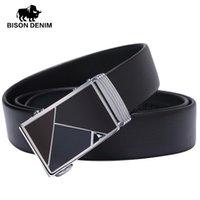 Wholesale Bison Buckle - Wholesale- BISON DENIM Designer Leather Strap Male Belts Fashion Business genuine leather belt for men gift N71107