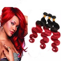 """Wholesale Red Two Tone Hair Weaves - Fashion Colored 1B Red Ombre Body Wave Hair Bundles 10""""-30"""" Black And Red Two Tone Human Hair Weaves 1B 99J Ombre Hair"""