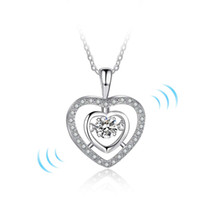 Wholesale Jewellery Heart Stones - fashion dancing diamond jewellery necklaces 925 sterling silver dance necklace pendent damcing cz stone love necklace