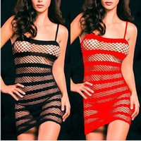 Wholesale sexy crotchless bodystocking - Sexy Lingerie Fishnet Crotchless Open Crotch Dress Bodystocking Fetish Black Red