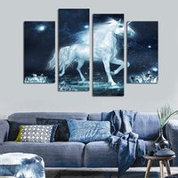 Wholesale horse art canvas set - 4pcs set Unframed Unicorn White Horse Crystal Impressionist Print On Canvas Wall Art Picture For Home and Living Room Decor