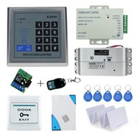 Wholesale electric lock remote control - Wholesale- Free Shipping Complete Access Control Door Lock System Kit Set with Electric Bolt Lock+Keypad+Power+Remote+Door bell+Exit+Keys