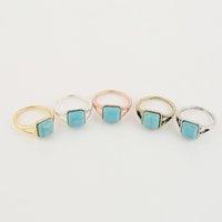 gold 14k porzellan preis groihandel-Fabrik-Preis-Großverkauf-großer quadratischer blauer Stein-klassischer Retro- Art-Ring-Frauen-Männer EFR007