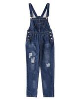 Wholesale Modern Woman Coats - Fashion woman Solid Denim suspenders jeans Hole Overalls Capris jeans Young Girls Slim Pencil Pants Cowboy Style J657
