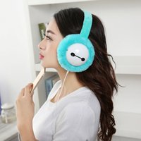 Wholesale Cute Cell Phone Plush - Cute Big Hero 6 Baymax Warm Plush Winter Earmuffs Headphones Outdoor Ear Muff Music Earphones 3.5mm Audio Sport Headset Ear warmer Protector