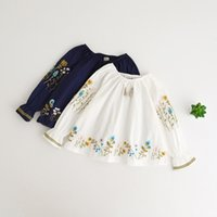 Wholesale Cotton Blouse Flower - kids shirt Floral Embroidered Long Sleeve Children Shirts Autumn Flower Tassel Girls Tops Sweet New Ethnic Style Girl Blouse C1406